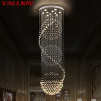 VALLKIN LED Crystal Chandeliers Lights Hanging Light Lamp Indoor Deco Lighting With D70CM H250CM For Dinning