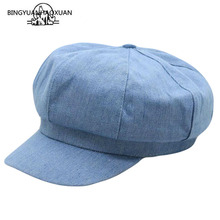 Women Leisure Octagonal Hat Ladies Denim Beret Cowboy Cap Newsboy Gatsby Baker Peaked Driving