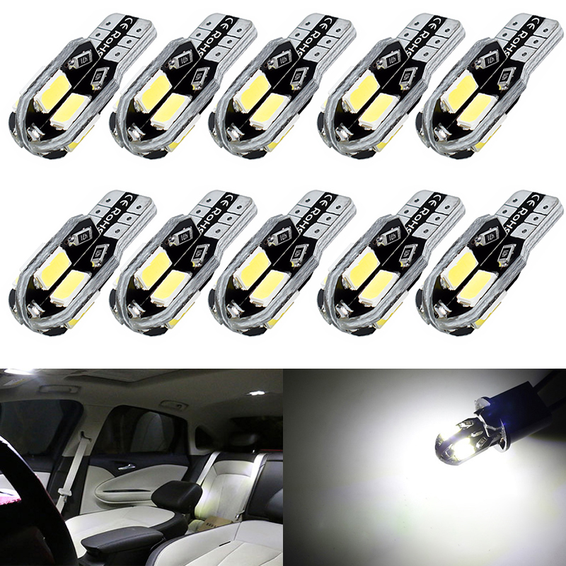 10pc Car Styling Car Auto LED T10 194 W5W Canbus 8SMD 5630 5730 LED Light Bulb No Error LED Light Parking T10 LED Car Side Light car led 1pcs t10 194 w5w dc 12v canbus 6smd 5050 silicone shell led lights bulb no error led parking fog light auto car styling