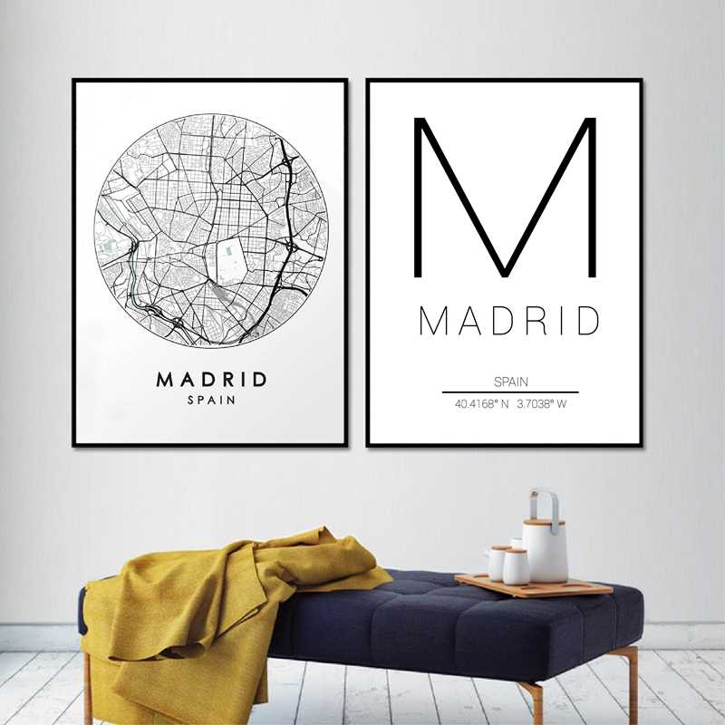 Madrid City Map Wall Art Canvas Print and Poster Spain Street Map Painting Pictures Black White Travel Posters Home Wall Decor
