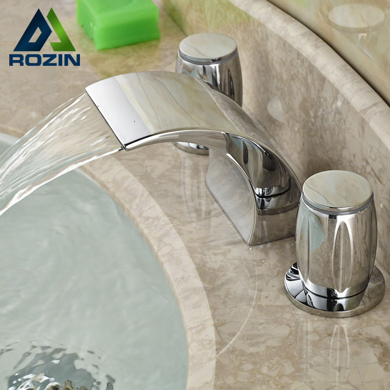 Bright Chrome Double Handle Waterfall Basin Faucet Deck Mounted Widespread Mixer Taps