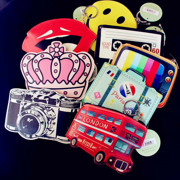 Cute Creative Cartoon Coin Purse Key Chain Girl Leather Bus Camera Smile Crown TV Lipstick Zipper Change Wallet Card Holder 2017creative cute cartoon coin purse key chain for girls pu leather icecream cake popcorn kids zipper change wallet card holder