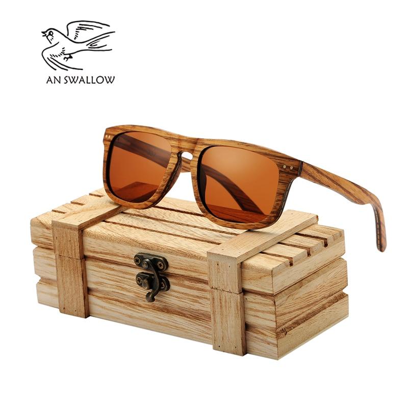 AN SWALLOW  Vintage Sunglasses Natural Handmade Laminated Wood Gray Zebra Round Ebony Sun Glasse