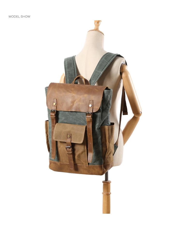 Retro Contrast Oil Wax Waterproof Canvas Bag Travel Backpack Computer Schoolbag Large Capacity Women Backpack 25