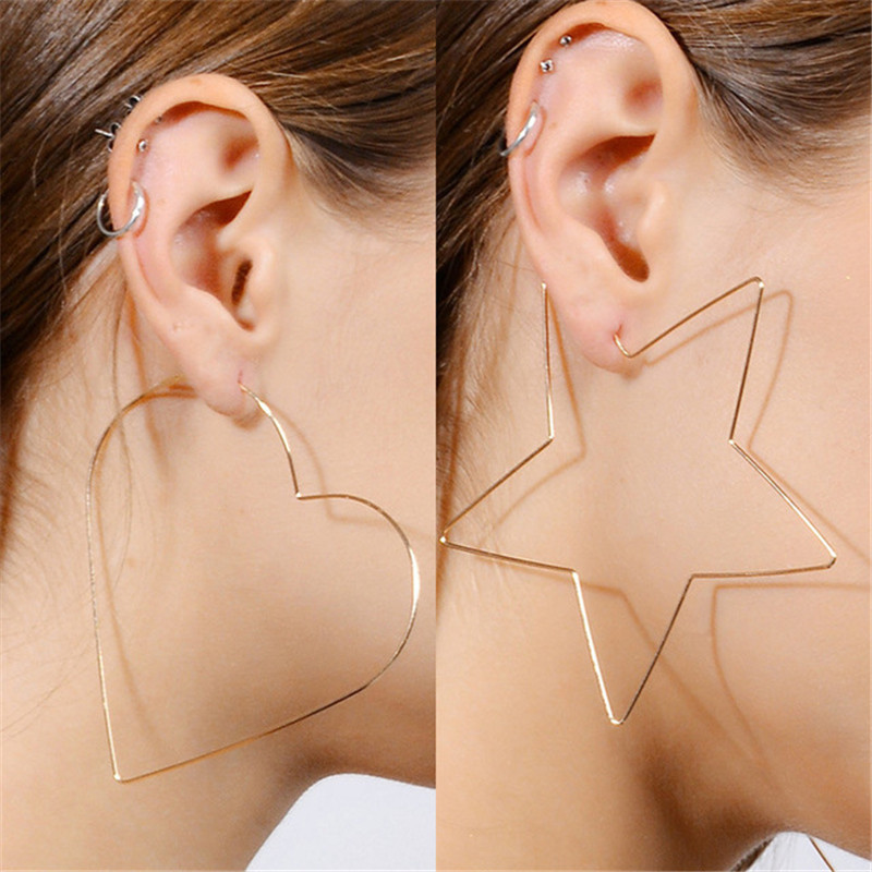 Metal Earrings Heart-Star Vintage Girls Women Punk Big MISM Fantaisie Brincos Boucle
