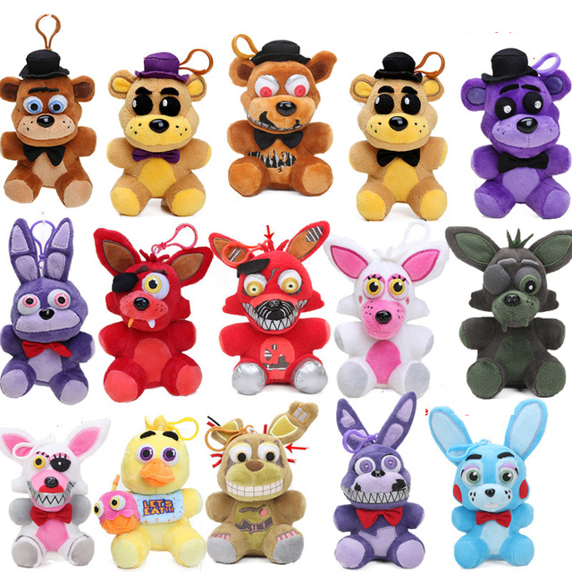 5pcs New 15style Nightmare 14cm Five Nights at Freddy's Plush Keychain  Freddy Bear Foxy Springtrap Bonnie