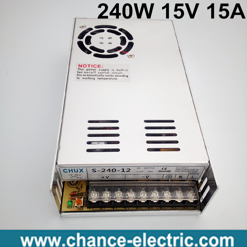 15 volt power supply 110V 220V AC to 15V DC 15A 240W single output 15v Switching Power Supply for LED Strip free shipping 15v 600w switching power supply 15v 40a single output ajustable 50 60hz ac to dc industrial power supplies s 600 15
