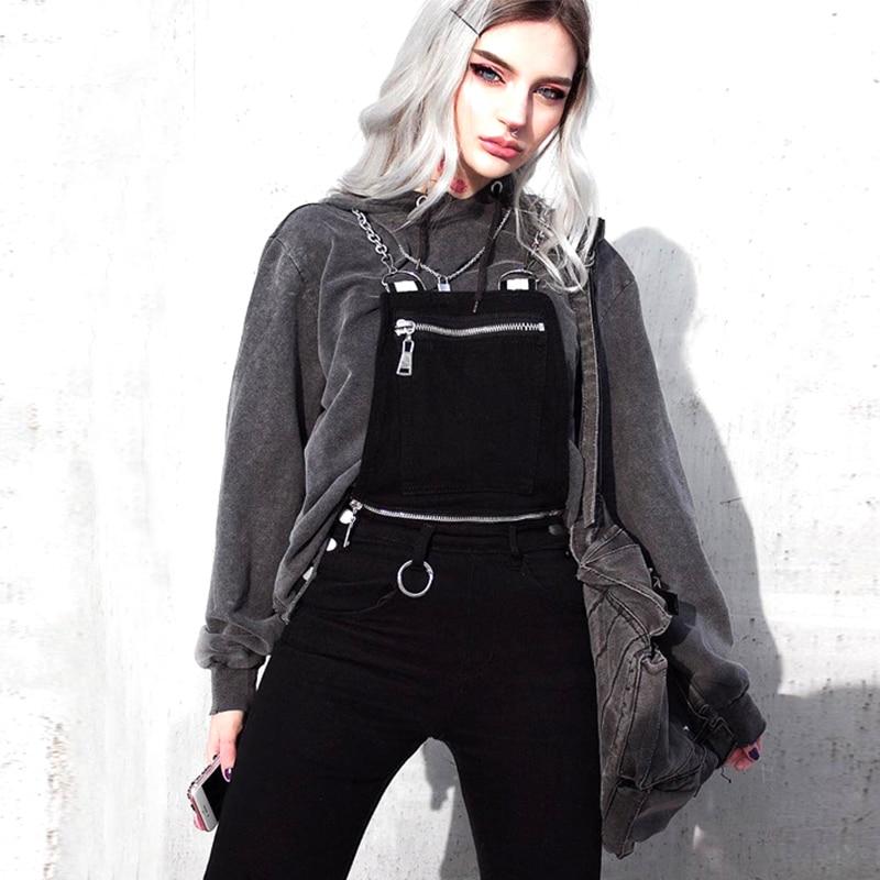 Gothic Punk Overalls Vrouwen Ketting Schouderriem Zwarte Jumpsuit Backless Vrouwelijke Sexy Romper Playsuit Streetwear Comfortabel En Gemakkelijk Te Dragen