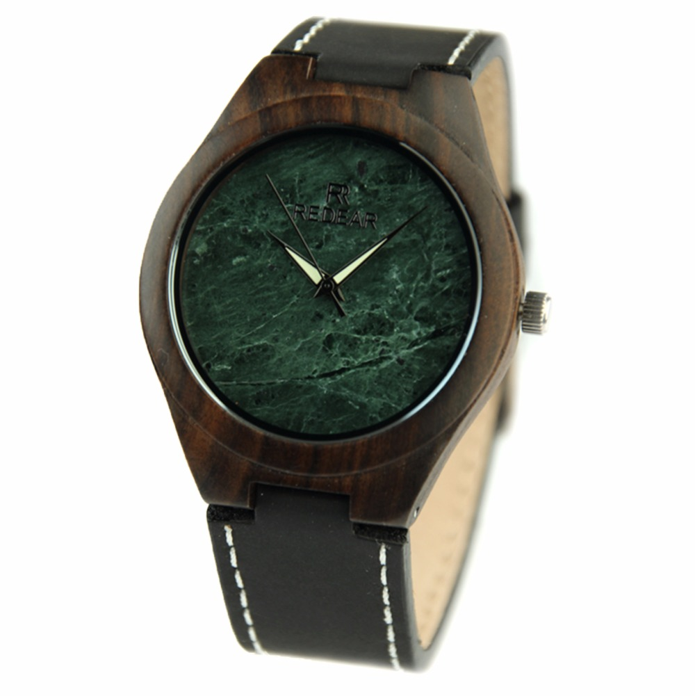 ФОТО New Man's Watch Green Stone Watch Black Sandalwood Watch High Quality Leather Strap