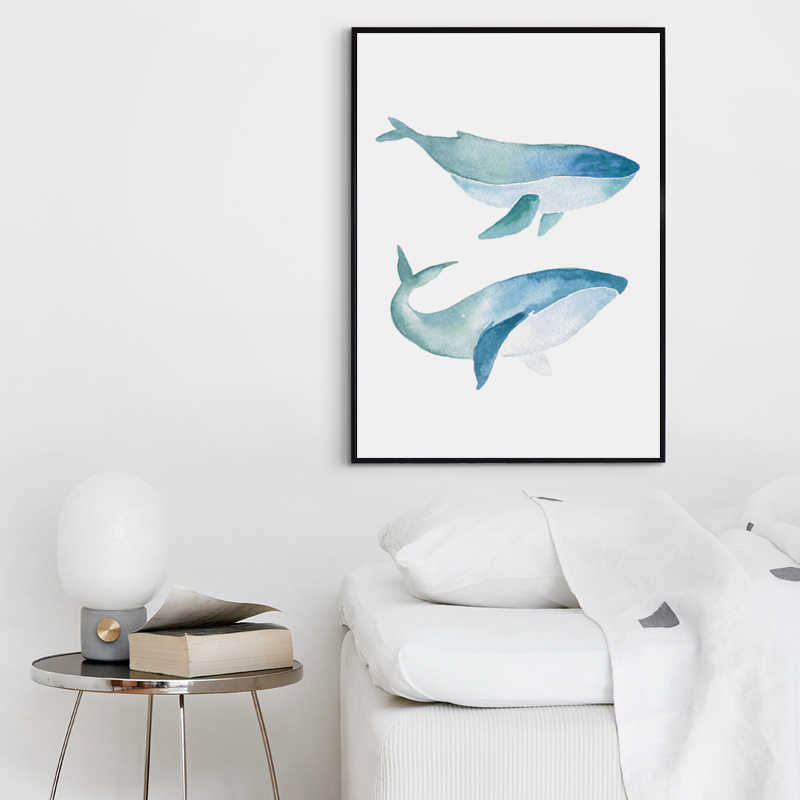 Simple Watercolor Whale A4 Canvas Painting Art Print Poster Picture Wall Paintings Home Decoration Wall Decoration