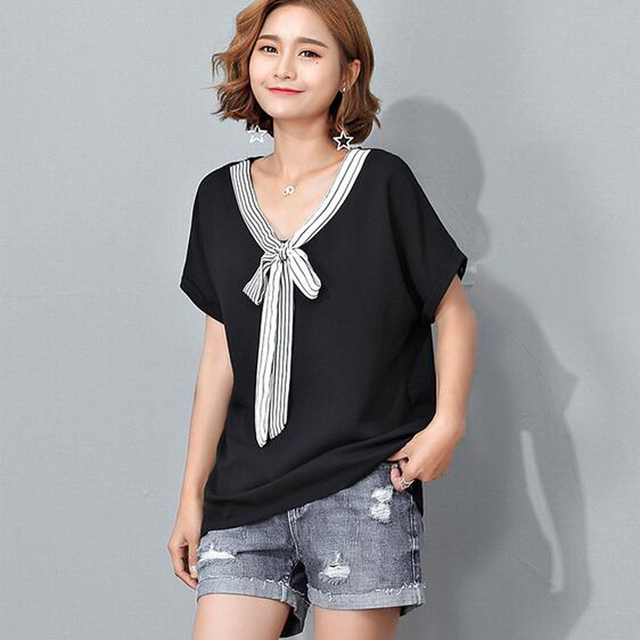 31b47f370b Mara Alee Mulheres chiffon blusas camisa empate frente preto tops para as mulheres  blusas plus size