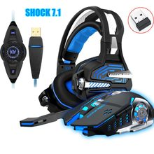 Headset For PS4 Xbox Vibration Gaming 7.1 Surround Sound PC casque Gaming Gamer Headset+2.4GH 6D Optical 2400DPI Wireless mouse(China)