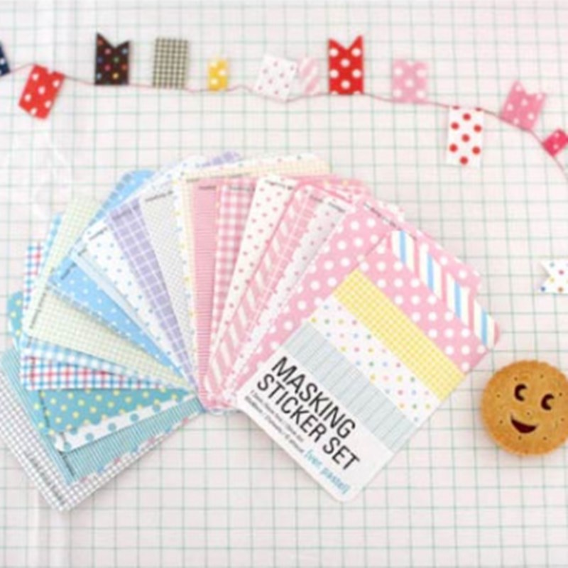 27X Scrapbook Basic Masking Tape Craft Stickers Pack Decorative Labelling DIY Diary Label Sticker Stationery Stickers Scrapbook