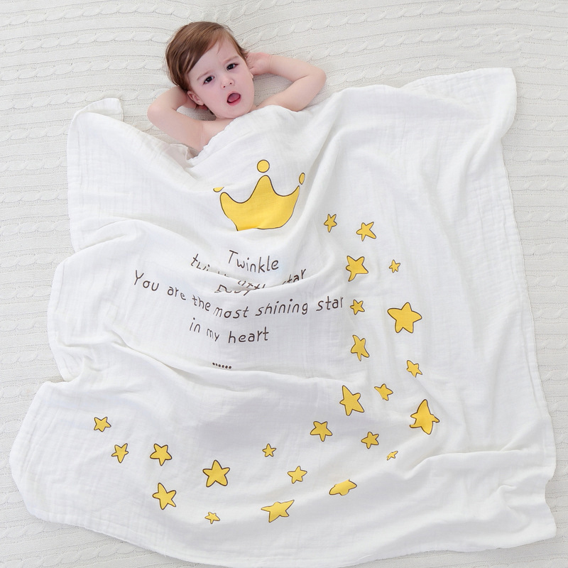 New 1pc Dual-layer Cotton Gauze Scarf Baby Towels Newborn Angel Wings Pattern Swaddling Towel Breathable Blanket For Baby Care цена 2017
