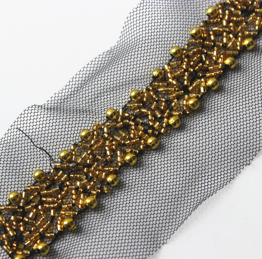 Gold Beaded Trim Braided Black Mesh Net Lace Ribbon Venise Motif Embellishment Applique Trimming Sewing on Collar 5yard T1402