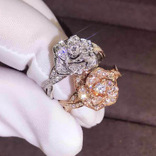 Engagement Zircon Rose Ring for Women Fashion Silver/Rose Gold Color Micro Pave Cubic Zirconia Rings Ladies Gift Wedding Jewelry blucome brand design rose gold color square cubic zircon ceramic earrings ring set chinese porcelain women wedding jewelry sets