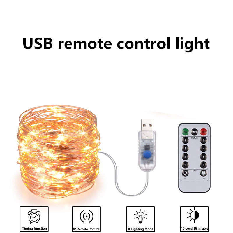 Festive outdoor copper string light 10m 20m remote control timing battery USB garden light for party Christmas decoration 5