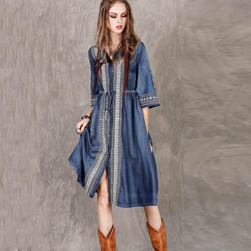 Nouvelle Femmes Robe Mi Ml Moitié Mode cou Coton Denim Libre mollet Shiping Robes Vintage V 2018 Manches Automne Broderie Long REp6qF