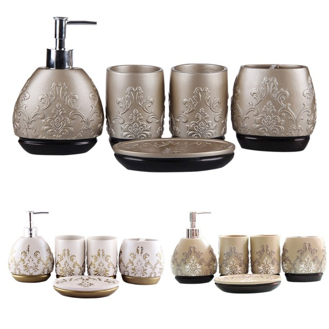 Merveilleux Hand Engraved Resin 5PCS Bathroom Accessory Set Soap Dish Lotion Dispenser  Tumbler Toothbrush Holder Bath Set