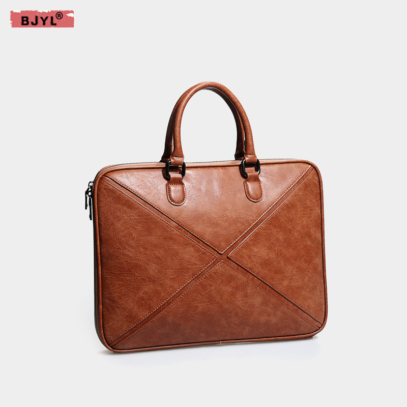BJYL Genuine Leather men and women briefcase thin section 14 inch Laptop computer handbag female shoulder notebook messenger bag aetoo with leather handbag section briefcase men and women fashion personality business package canvas laptop bag 15 inch