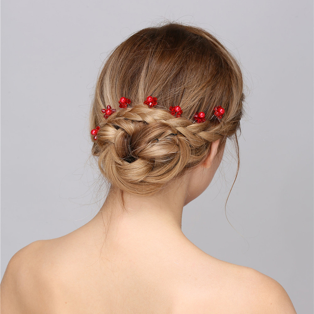 Fine Hair Folk Bridal Wedding Accessories For Women Red Pearl Crystal Flower Jewelry Pin