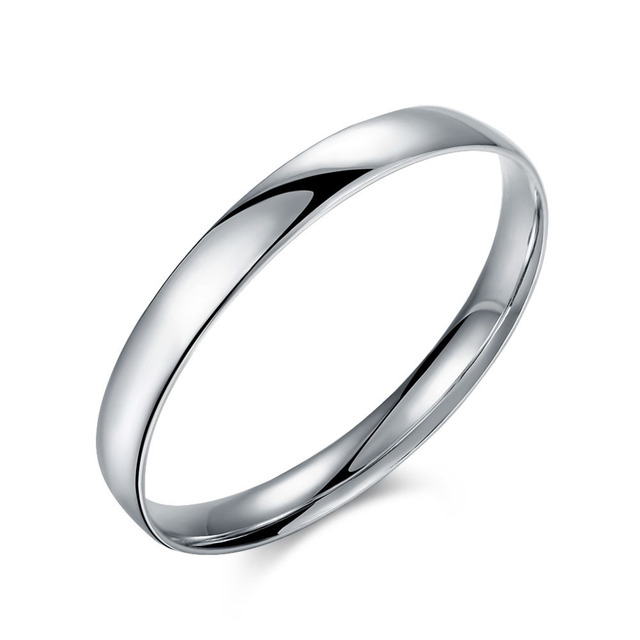 Top Silver Bracelets Bangles Stamped 925 Flat Solid Full Round Simple Bangle Bracelet Cuff For