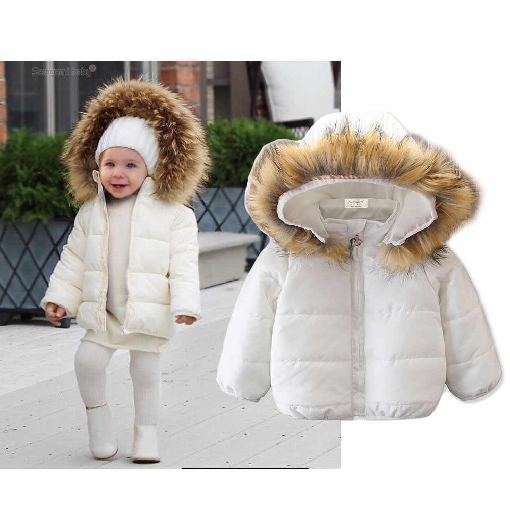 elegant kids down coat solid hooded cotton warm coat for 2-8years children snowwear boys girls Winter clothes