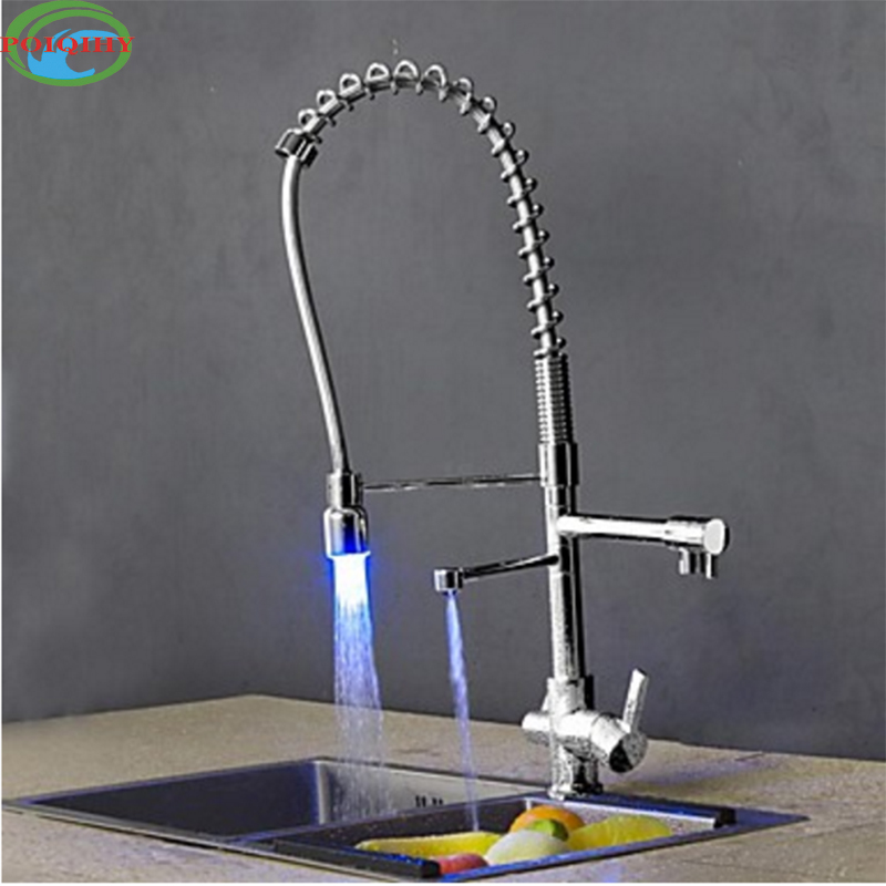 Deck Mounted Chrome Finished Pull Out Spring Kitchen Faucet Three Swivel Spouts Vessel Sink Mixer Taps Dual Handles LED Light chrome finished pull out spring kitchen faucet deck mount swivel spout vessel sink mixer tap dual sprayer