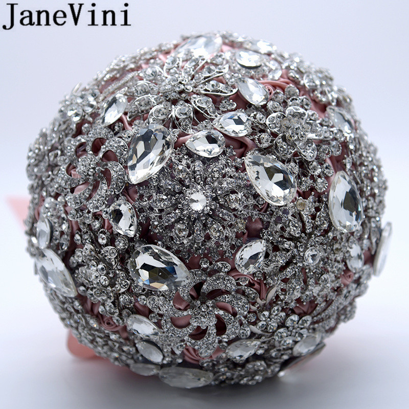 JaneVini Bridal Bouquet Satin Rose Silver Beaded Crystal Wedding Bouquet Married Bride Flower Ball Bling Red Gray Bouquets 2019