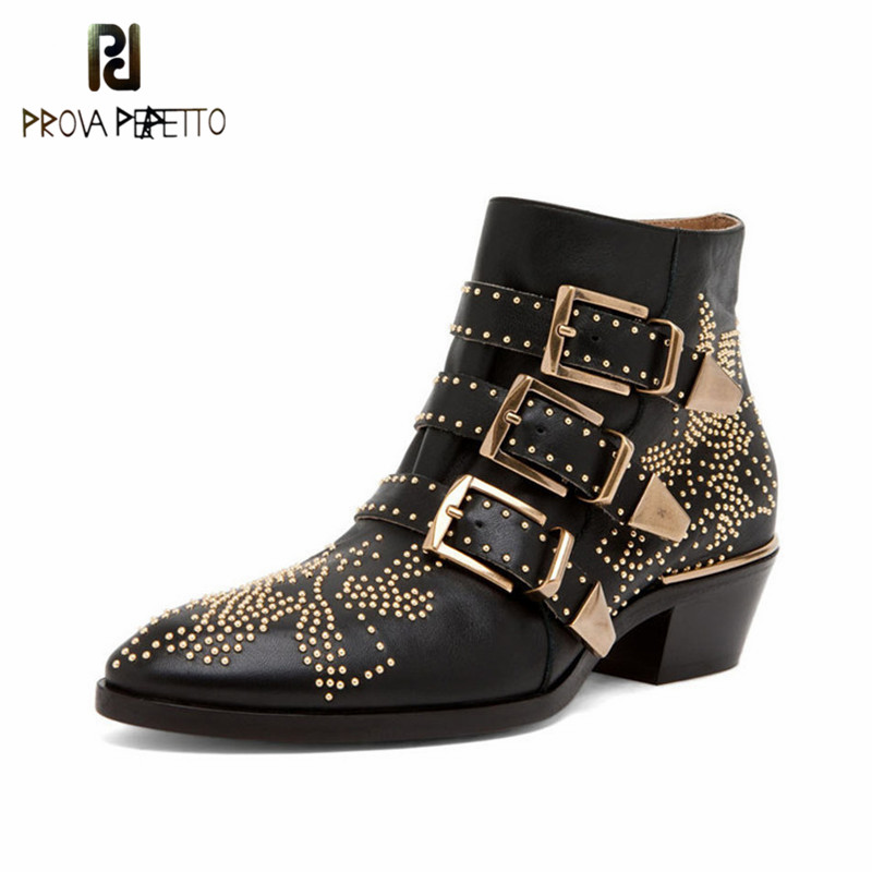 Prova perfetto The New Chic Point Toe Motorcycle Boots Studded Buckle With Metal Decoration Fashion Rivet Ankle Boots WomenProva perfetto The New Chic Point Toe Motorcycle Boots Studded Buckle With Metal Decoration Fashion Rivet Ankle Boots Women