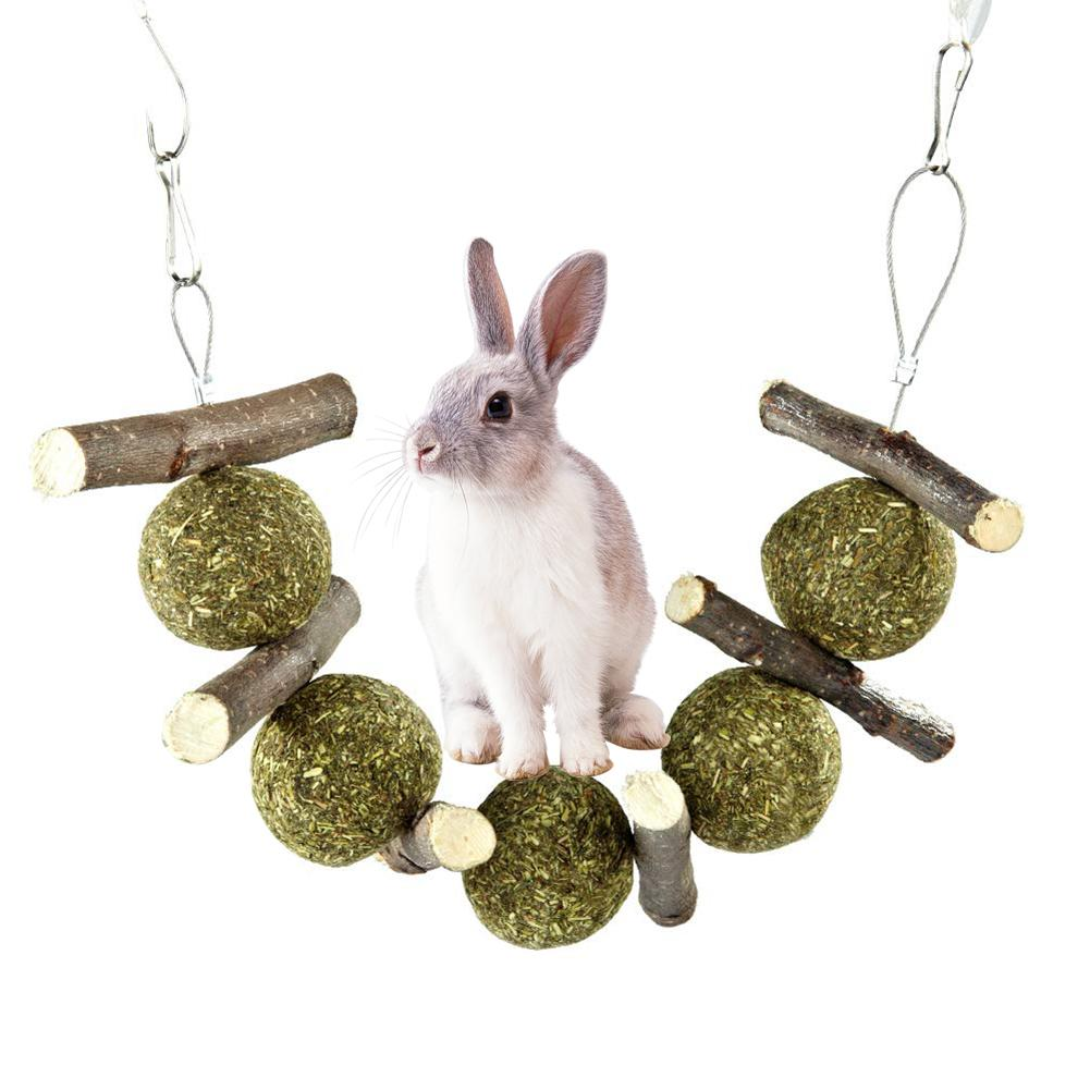 Lapin Guinea Pig Bite Grind Teeth Toys Small Pets Rabbit Hamster Chinchilla Pet Grass Ball Branch Molar Chew Play Teething Toy