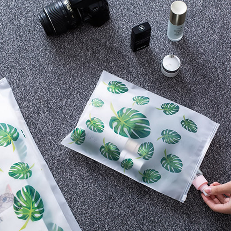 Transparent Plant Cosmetic Bag Travel Makeup Case Women Zipper Make Up Organizer Storage Pouch Toiletry Wash Kit Beauty Bath Box 5