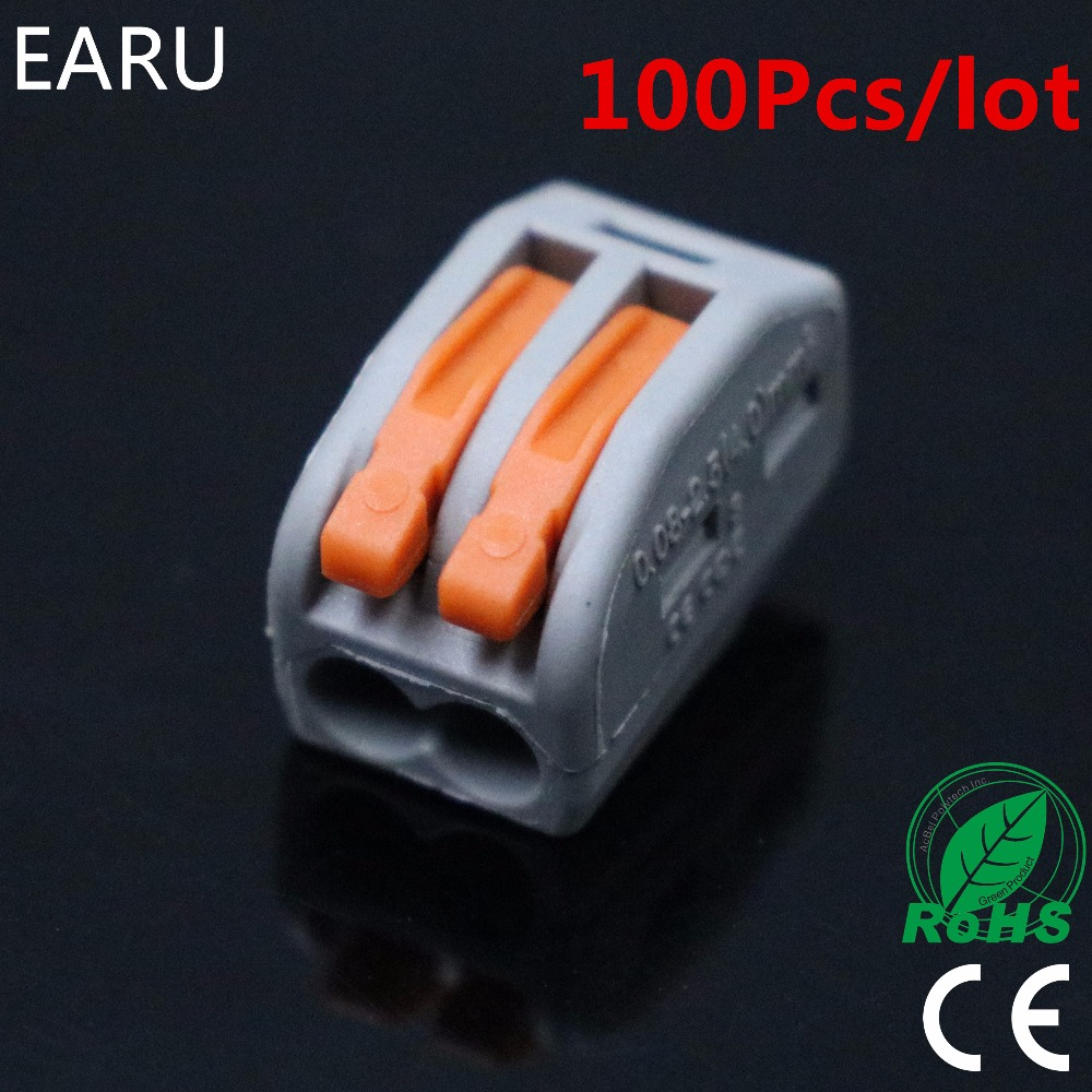 100pcs 222-412 PCT-212 PCT212 Universal Compact Wire Wiring Connector 2 Pin Conductor Terminal Block With Lever 0.08-2.5mm2