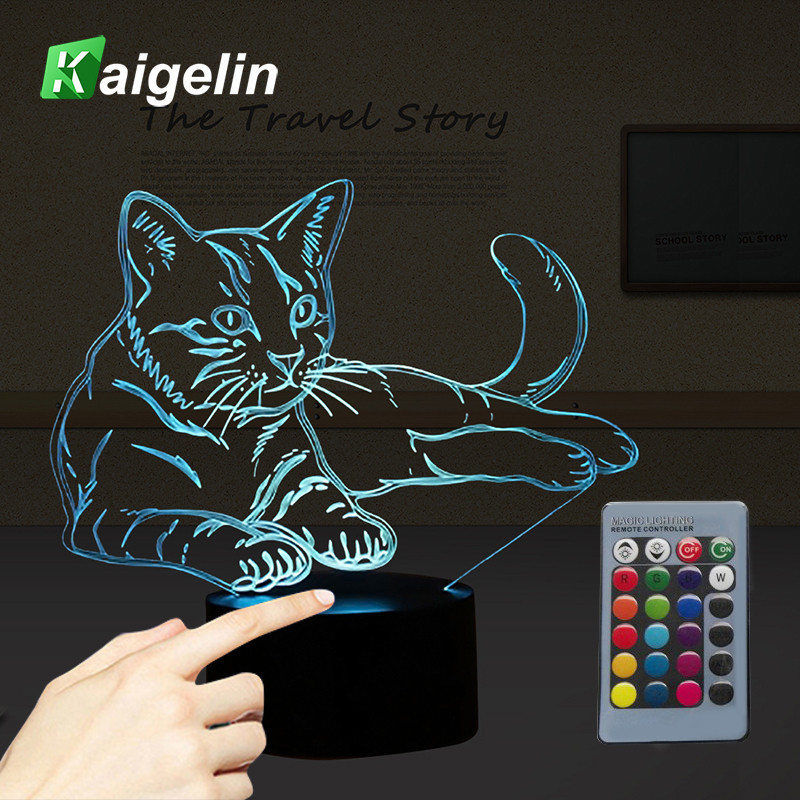 цена на Novelty Cat 3D Illusion Lamp USB LED Touch Sensor Light 7 Colors Remote Control LED Table Lamp Luminaria Children's Night Light