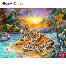 Evershine 5D DIY Diamond Painting With Square Stones Tigers Embroidery Full Display Animals Pictures Rhinestones