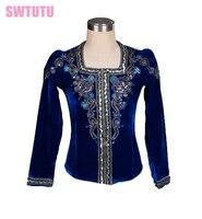 navy blue Ballet top for men,boy's ballet top ballet jacket for Man dance costumes,professional men's ballet top BM0004