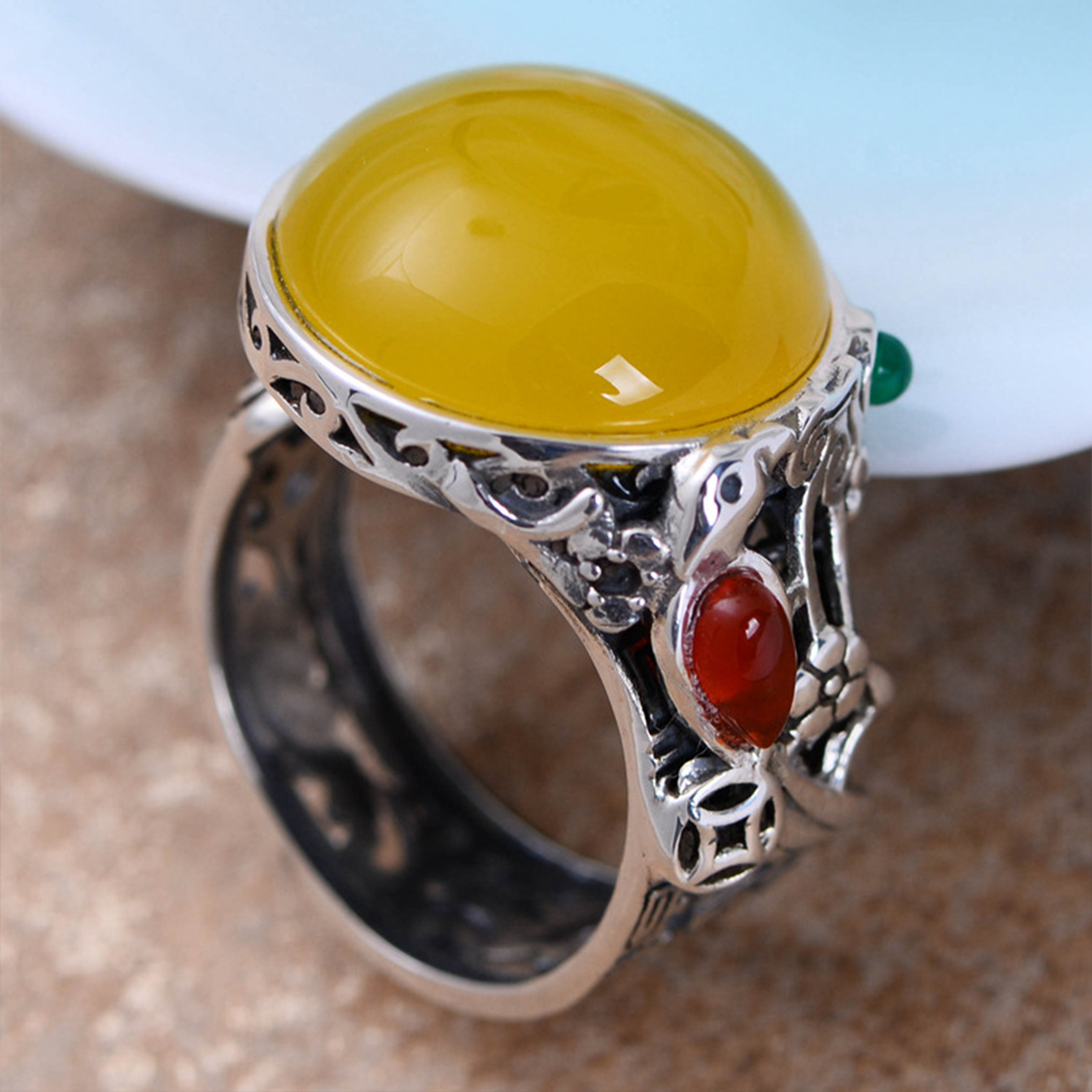 MetJakt Natural 2cm Yellow Chalcedony Ring with Small Garnet Agate Solid 925 Sterling Silver Open Ring for Women Bohemia JewelryMetJakt Natural 2cm Yellow Chalcedony Ring with Small Garnet Agate Solid 925 Sterling Silver Open Ring for Women Bohemia Jewelry