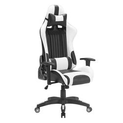 Silla de carreras para juegos Silla de ordenador con espalda alta reclinable silla de oficina de cuero PU silla de trabajo giratoria