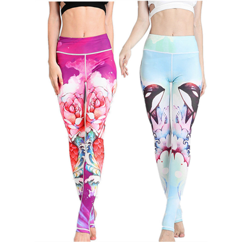 Mermaid Series Yoga Leggings High Waist Printing Elastic Quick Dry Women Gym Clothing Fitness Sport tights Pants Yoga Pants