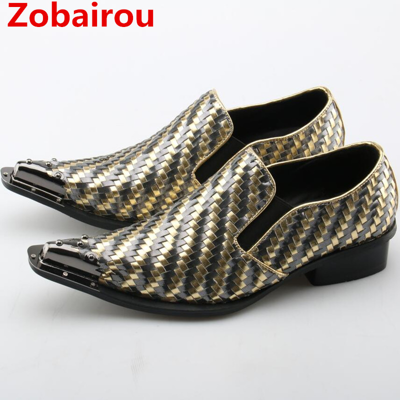 Zobairou sapato masculino gold men leather shoes velvet loafers dress wedding slip on flats mens shoes large sizes formal