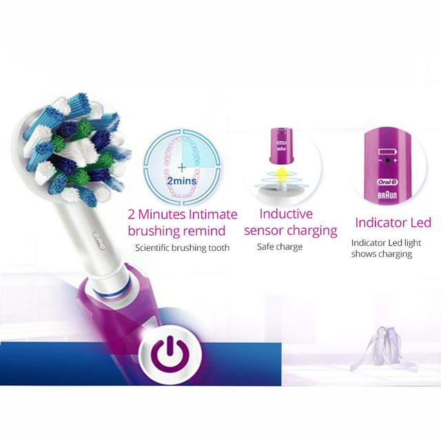 Electric Toothbrush Oral B Pro600 Plus Ultrasonic 3D Action Rotation Smart Timer Tooth Brush Teeth Whitening Replaceable Heads 3