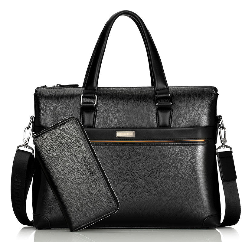 13 Inch Men's Shoulder Bag Men's Leather Briefcase PU Material Men Waterproof Handbags Fashion Briefcase Black Shoulder Bag Hot