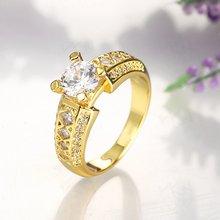 Женское Обручальное кольцо с 4 зубцами и золотым покрытием размер