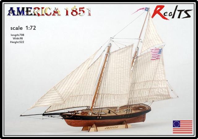 RealTS Classic wood sailboat model AMERICA 1851 Yacht race Champion ship assemble model
