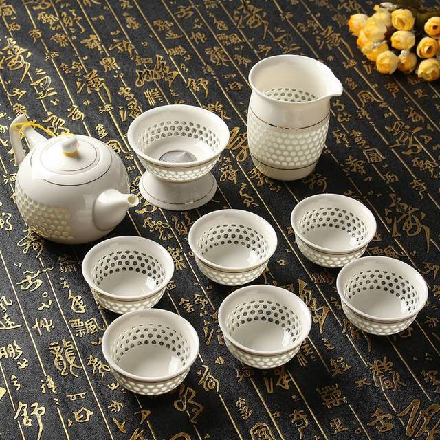9Piece/set Elegant Tea Pot 6 Cups Teapot  Filter Cup Chinese Tea Set Porcelain Kung Fu Tea Set Tea Container Home Kettle Gift