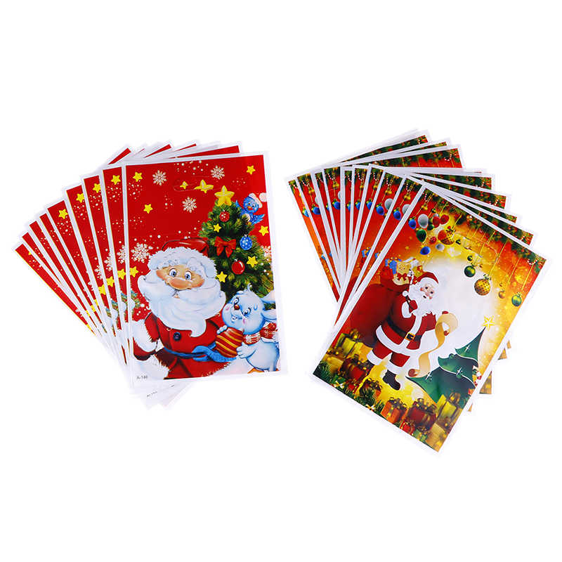 10pcs Cute Cartoon Gifts Bags Christmas Cookie Packaging Self-adhesive Plastic Bags For Biscuits Birthday Candy Cake Package