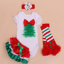 4PCs per Set Newborn Baby Girls First Second Lace Tree Christmas Outfit Green Shorts Headband  Leggings  for 0-24Months