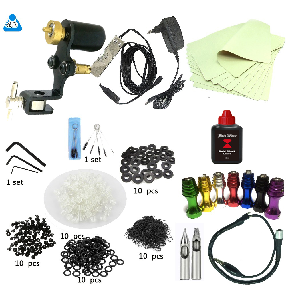 Rotary Tattoo Machine Complete Tattoo kit Equipment Set Starter Tattoo Kit 1 Guns Supply Body Art 5ml ink EU/US/AU/UK plug p80 panasonic super high cost complete air cutter torches torch head body straigh machine arc starting 12foot