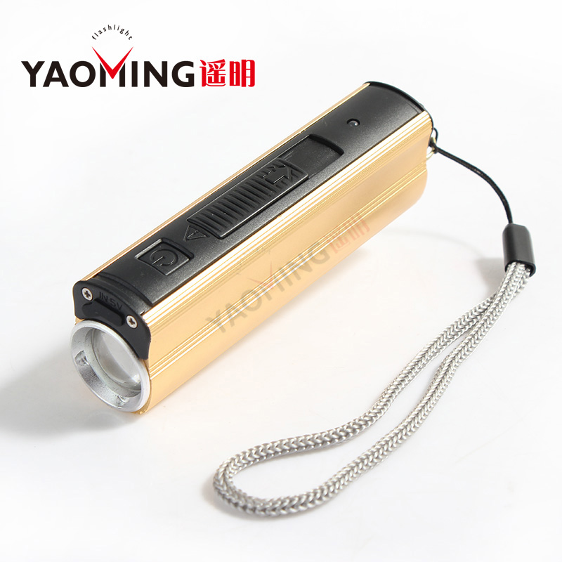 2017 new design USB bank power flash light use 18650 rechargeable electronic lighter 3 model by portable lamps mini flashlight