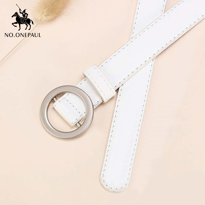 NO.ONEPAUL Golden Buckle Female Round Pin Buckle Belt Simple And Generous New Fashion Ladies Belt Jeans Wear A Small Fresh Style